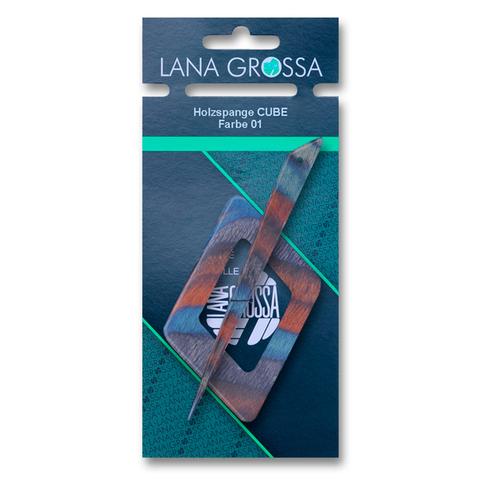 Заколка Lana Grossa для вязаного полотна, деревянная, ромб, цвет 01 - бирюзовый с коричневым