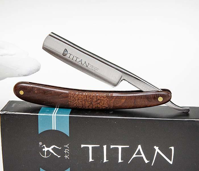 RAZ520-2 Опасная бритва «Titan» с коричневой рукояткой из дерева фото 05