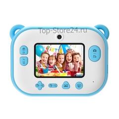 Детский фотоаппарат моментальной печати мишка полароид синий