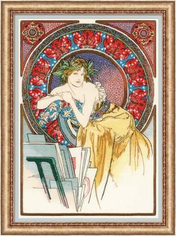 Набор для вышивания RIOLIS PREMIUM ««Девушка с мольбертом» по мотивам произведения А. Мухи» (100/058)