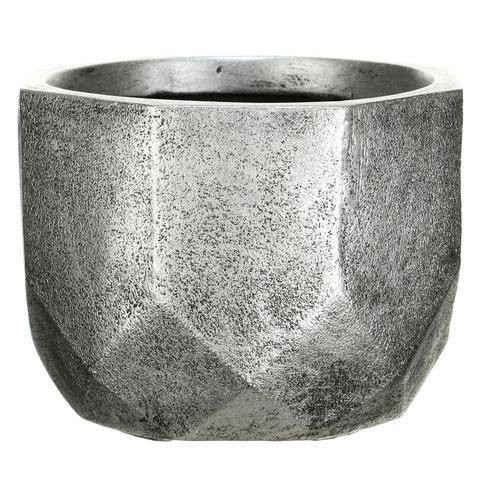 DROUND23-SLV Кашпо Геометри Круглое, файберстоун, серебро, D23 H17 cm