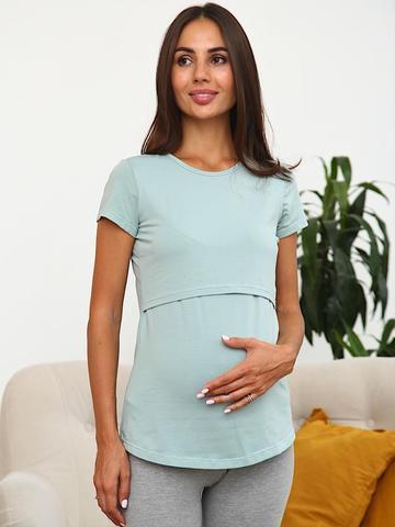 Мамаландия. Футболка для беременных и кормящих, аква
