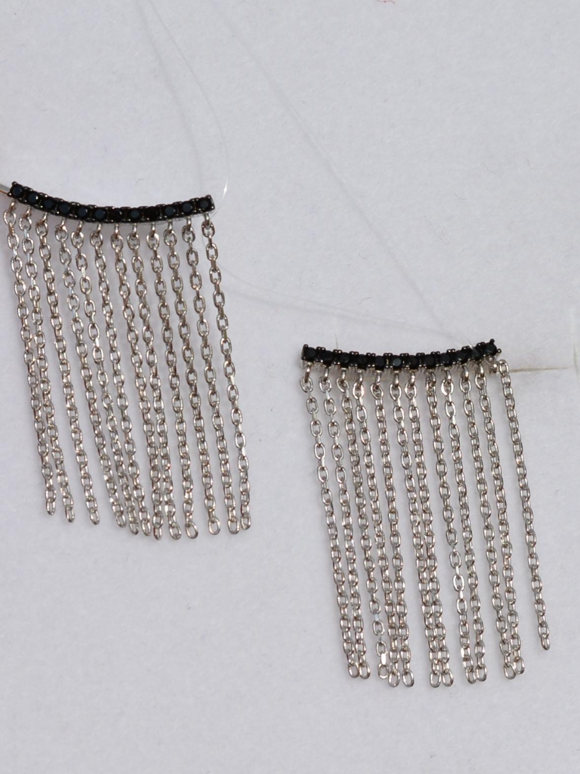 Каффы 3,0 черные (серебряные серьги)
