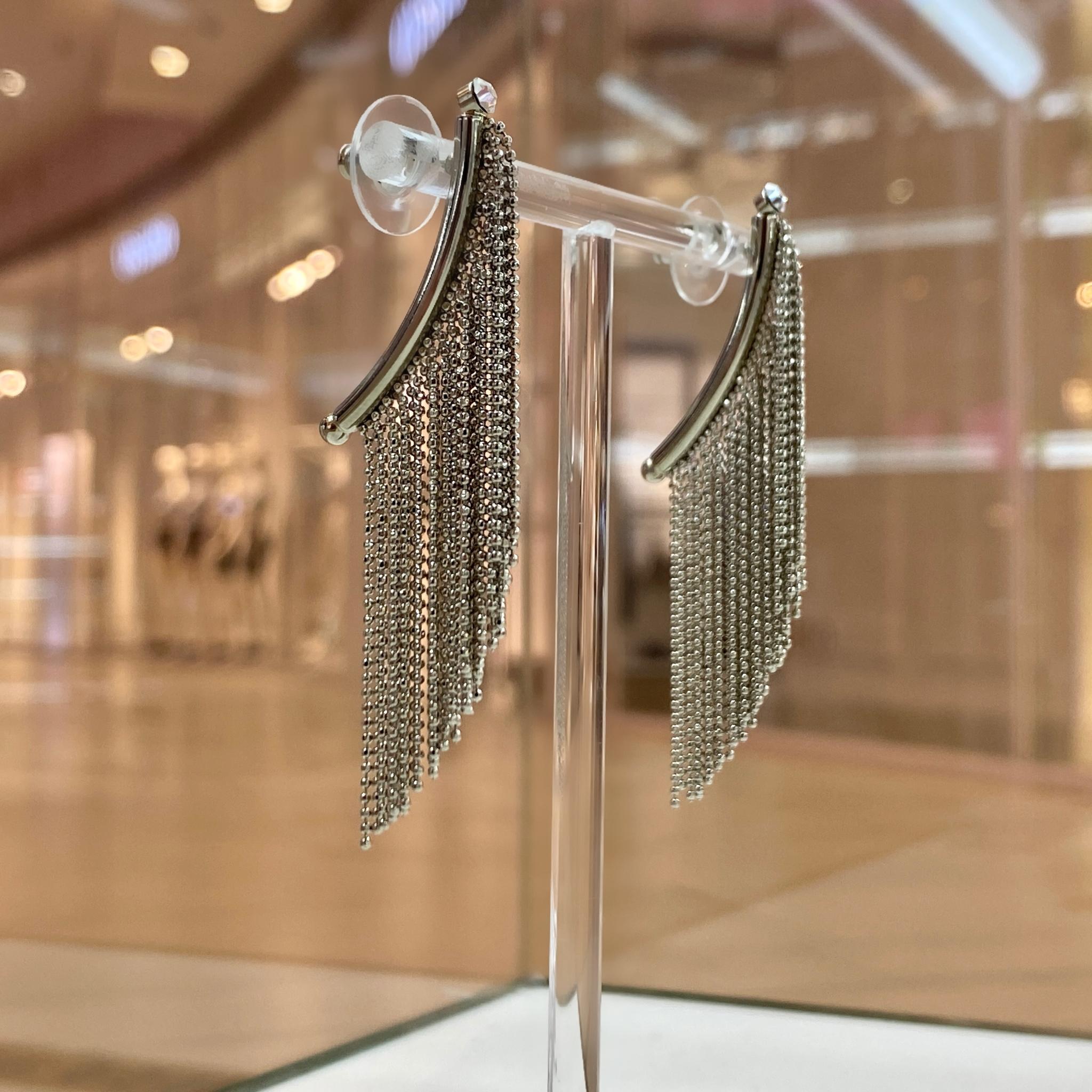 Серьги каскадные из цепочек-перлин ш925 (серебристый)