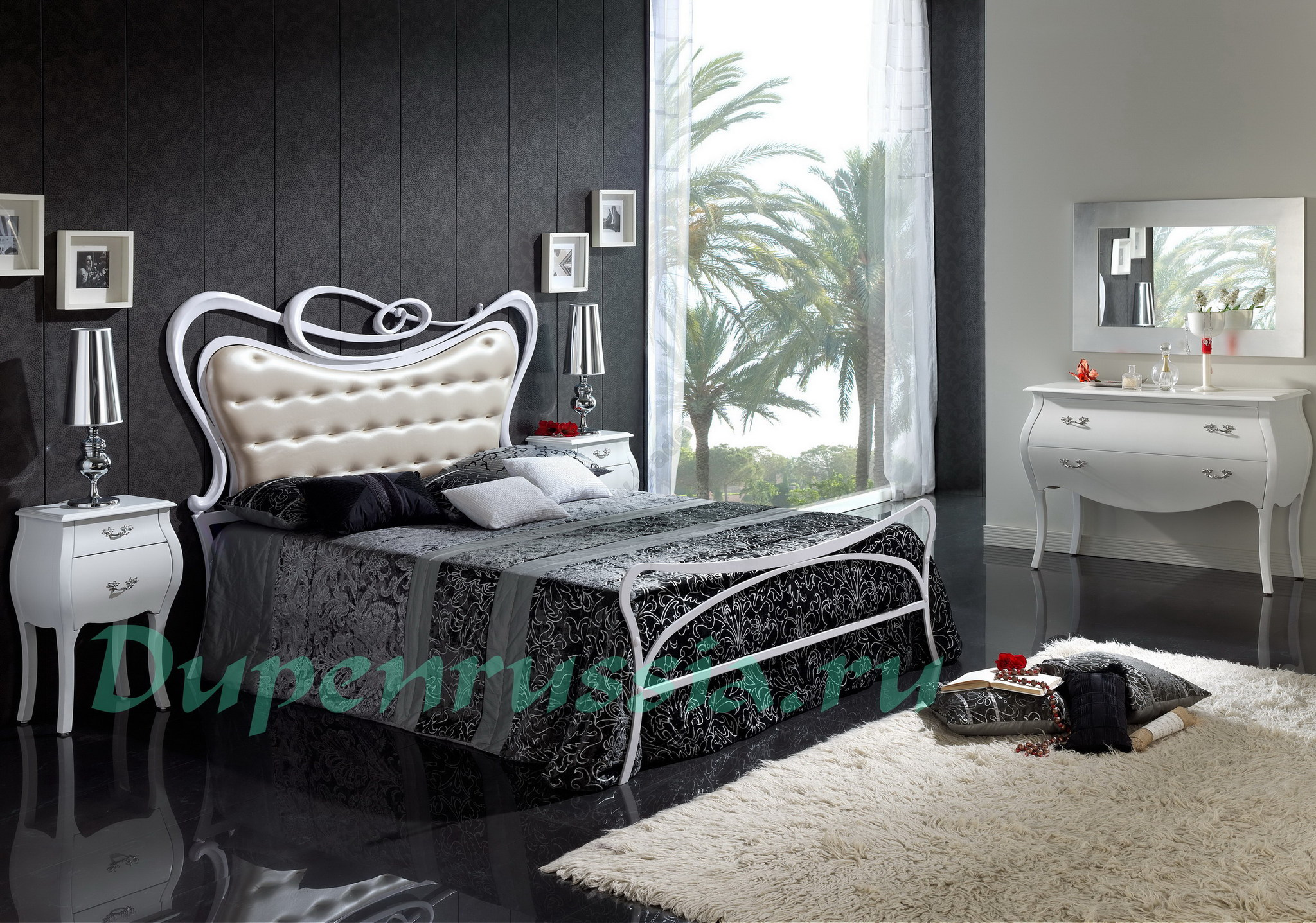 Кровать DUPEN 505 SOFIA, Тумбочка М-95 белая, Комод С-95 белый