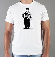 Футболка с принтом Чарли Чаплин (Charlie Chaplin) белая 002