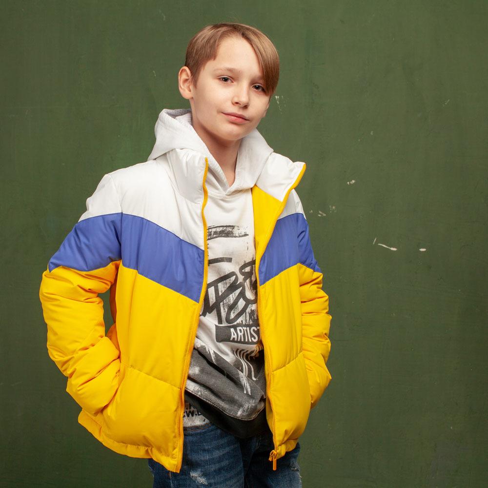 Дитяча демісезонна жовта куртка з водовідштовхувальної плащової тканини