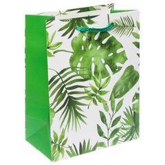 Пакет подарочный с матовой ламинацией 18х23х10 см (M) Тропическая флора.