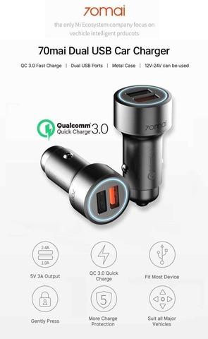 XiaoMI 70mai Автомобильное зарядное устройство Car Charger Midrive /black/ CC02