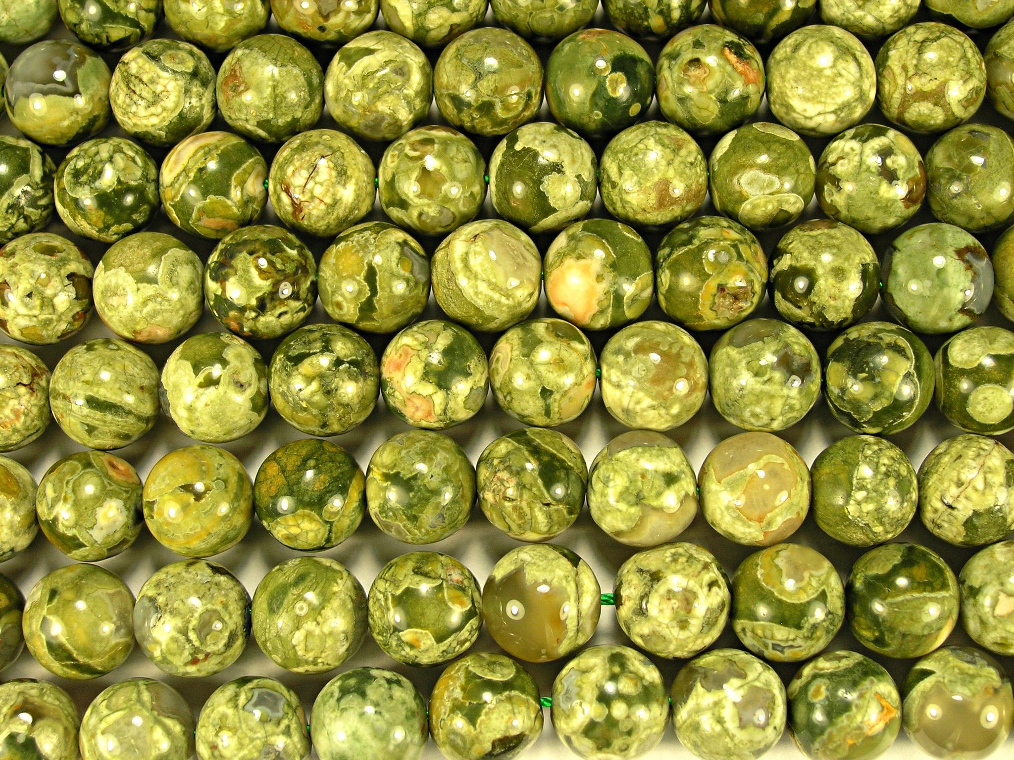 Нити бусин из яшмы риолит, шар гладкий 12мм (оптом)
