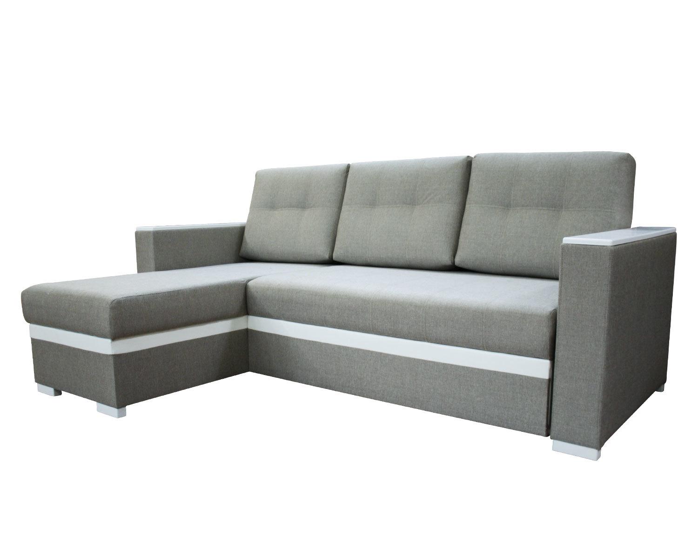 угловой диван-кровать Карелия-Люкс 2я2д без стола, подлокотники П3+П3, накладки белого цвета