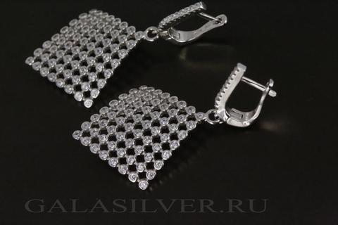 Серьги с фианитом из серебра 925