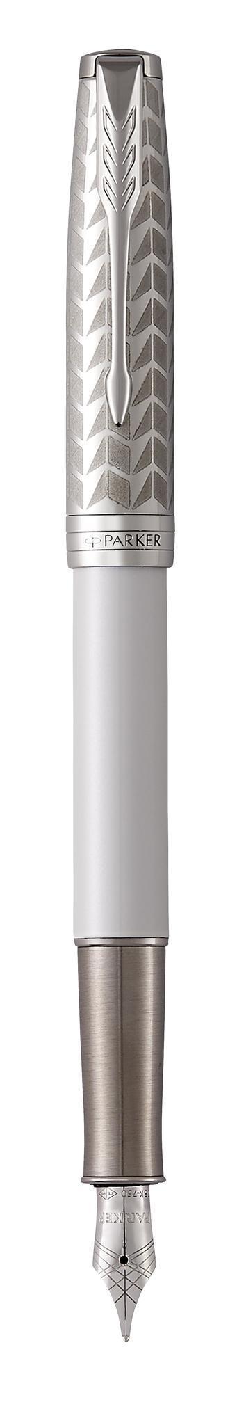 Набор подарочный Parker Sonnet - Pearl Metal PGT ручка перьевая, F + блокнот и органайзер