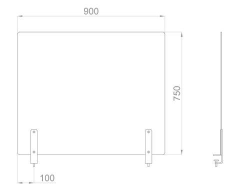 Настольный экран на струбц. Ш.900мм В.600/750мм