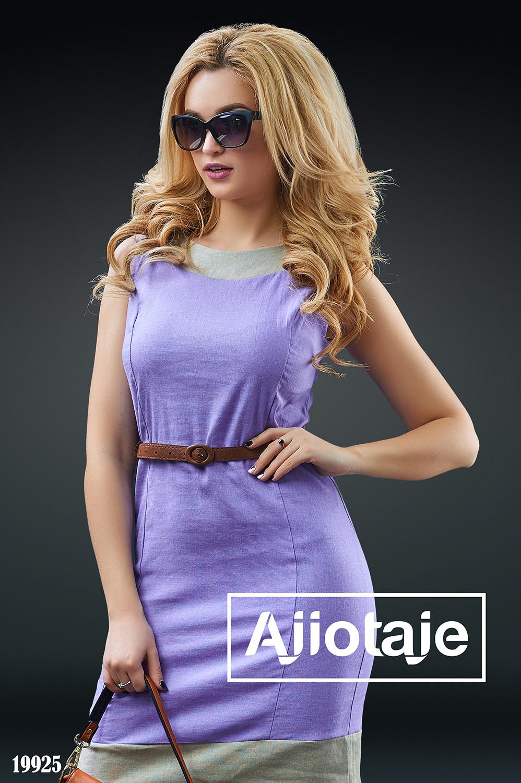 Льняное платье фиалкового цвета с без рукавов