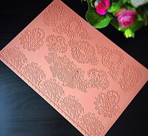 Молд силиконовый для айсинга кружево РАЗНЫЕ УЗОРЫ (коричневый силикон) №3132