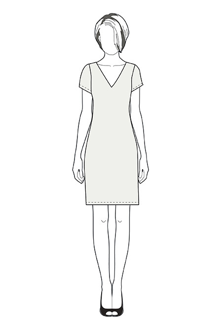 Выкройка платья с V-образным вырезом тех рисунок