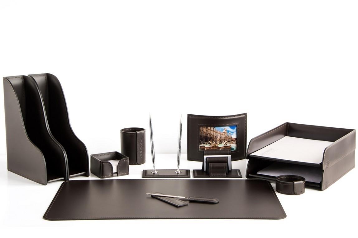 Набор на стол руководителя 1542-СТ 12 предметов кожа Cuoietto цвет шоколад на фото.