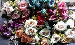 Розы искусственные пионовидные, букет 5 веток, 33 см.