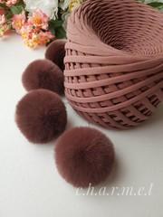 Помпон из натурального меха, Кролик, 5-6 см, цвет Кофе, 2 штуки