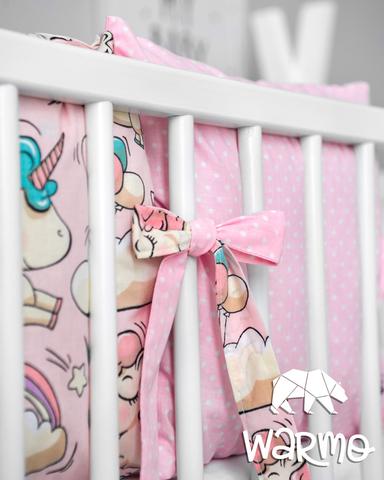 Набір бортиків-подушок в ліжечко 30x30см РОЖЕВІ ЄДИНОРОГИ