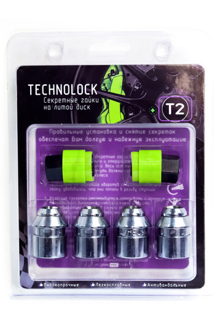 Секретные гайки колеса TECHNOLOCK T2 М12x1.5x36 ключ=19 конус