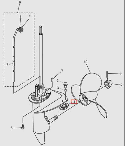 Анод для лодочного мотора T9.8 Sea-PRO (14-4)