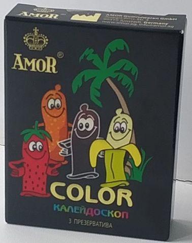Цветные ароматизированные презервативы AMOR Color  Яркая линия  - 3 шт.