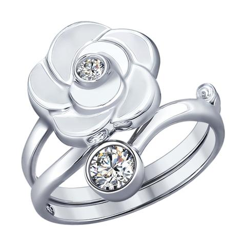 94011967 - Кольцо-трансформер из серебра с фианитами