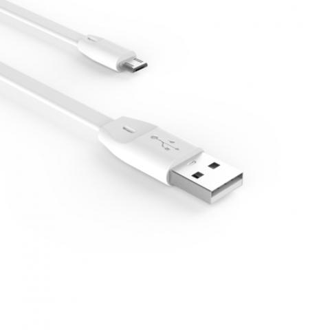 Кабель Voltex Easy microUSB, плоский 1м. white