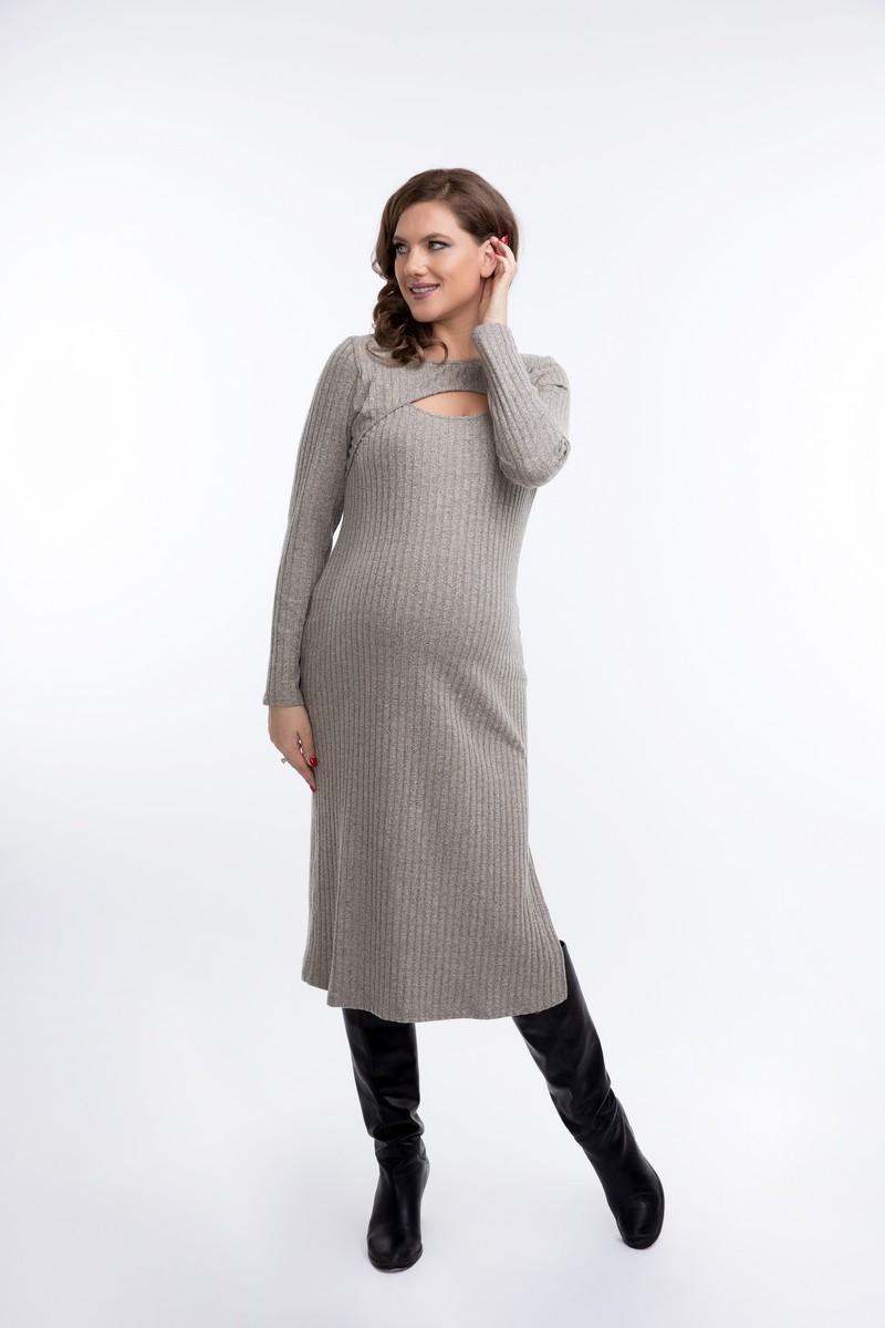 Платье для беременных 08921 бежевый