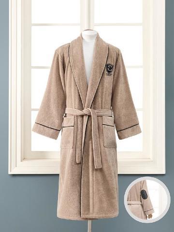 Махровый банный махровый халат LUXURE коричневый