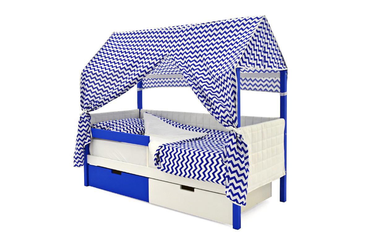 Кровать-домик мягкий «Svogen синий-белый»