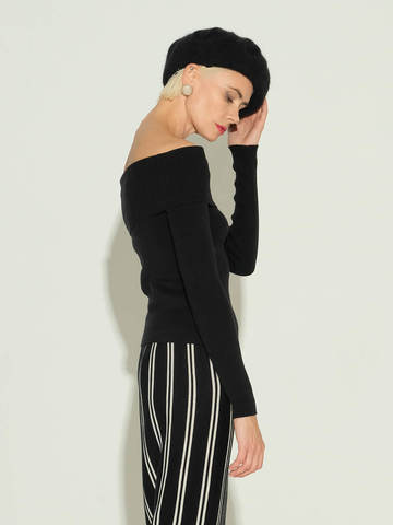 Женский джемпер черного цвета из шелка и кашемира - фото 4