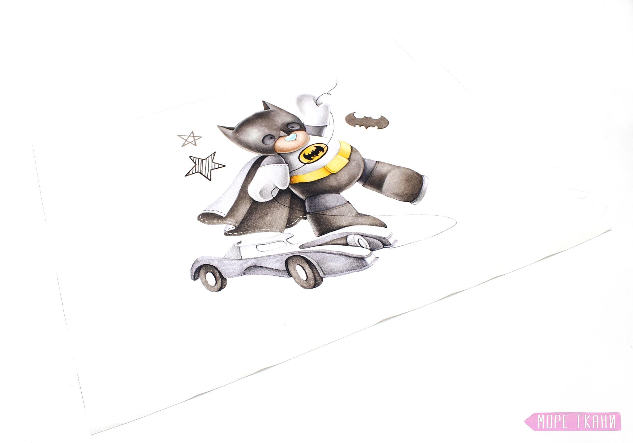 Панель(купон)мишка-бэтмен-40*60 см