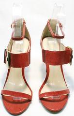 Красные лаковые босоножки на каблуке на выпускной Via Uno1103-6605 Red.