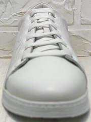 Белые туфли сникерсы на шнурках женские Evromoda 141-1511 White Leather.