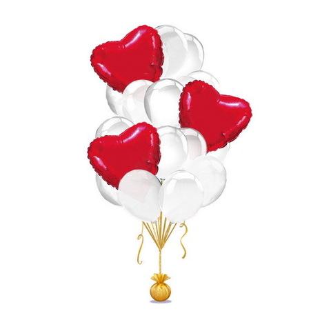 Букет белых шаров с красными сердцами