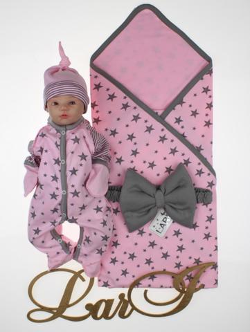 Летний набор на выписку новорожденных из роддома Звездопад (розовый)