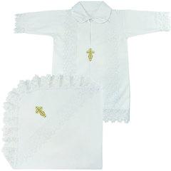 Папитто. Крестильный набор для мальчика (рубашка крестильная, пеленка) вид 6