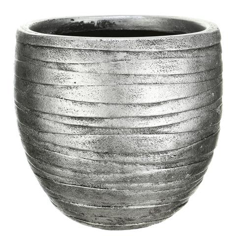 ROWR27-SLV Кашпо Роу Круглое, файберстоун, серебро, D27 H25.5 cm