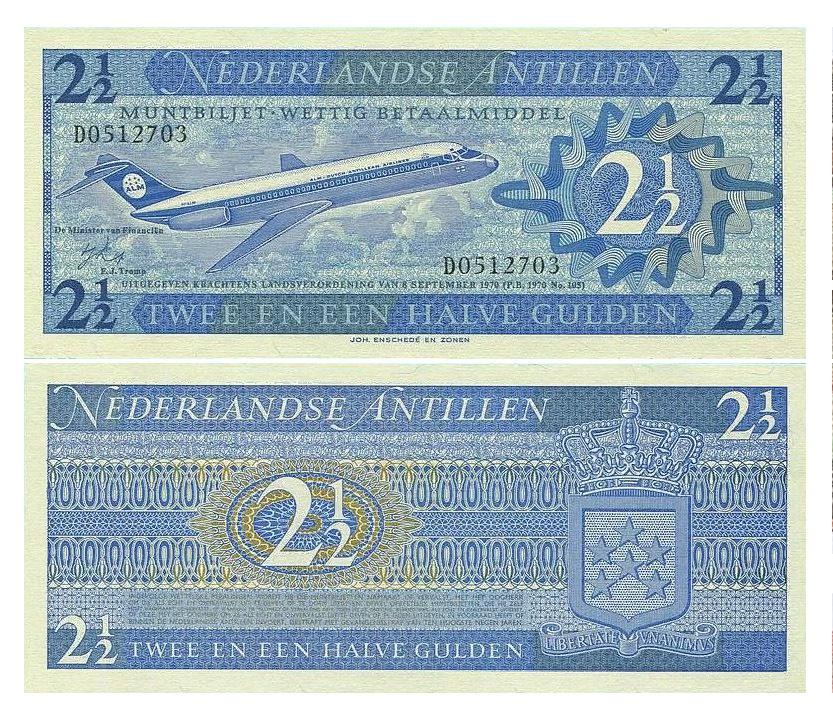 Банкнота 2 1/2 гульдена 1970 год, Нидерландские Антилы. UNC