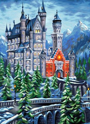 Алмазная Мозаика 40x50 Замок в горах (арт. 2PAV765)