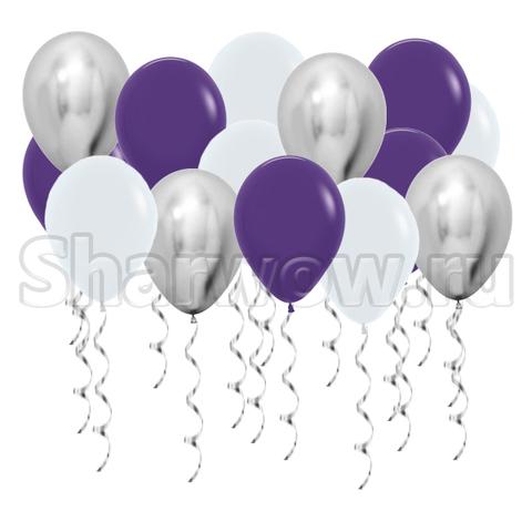 Воздушные шары с гелием под потолок Белый, фиолетовый, серебро