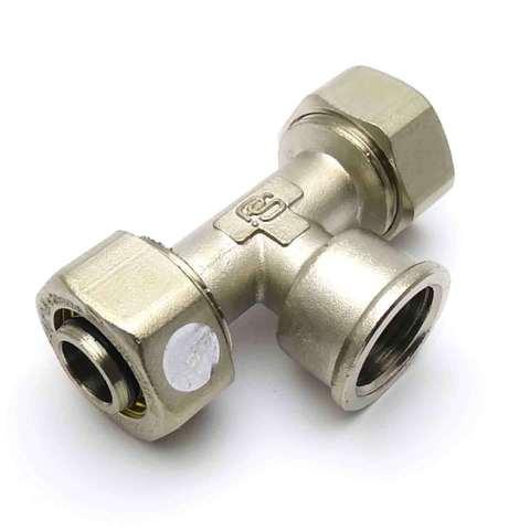 Тройник обжимной для металлопластиковых труб  20*1/2*20 внутренняя резьба SD Plus