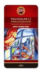Набор художественных цветных карандашей POLYCOLOR 12 цветов в металлической коробке