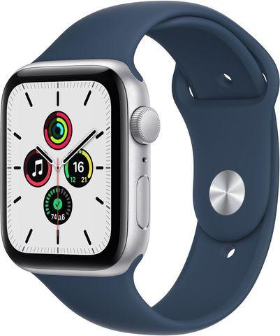 Часы Apple Watch SE GPS 44mm Aluminum Case with Sport Band Серебристый / синий 2021 (MKQ43RU/A)