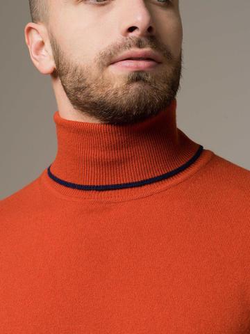Мужской джемпер оранжевого цвета из 100% кашемира - фото 4