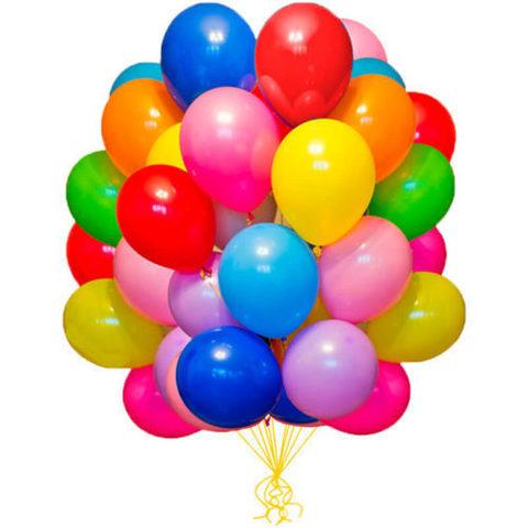 10 воздушных шаров 25 см.
