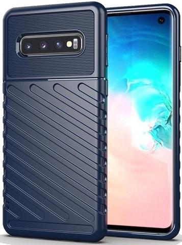 Чехол Carbon для Samsung Galaxy S10 серия Оникс | синий